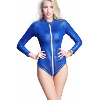 Rozegaga Womens Long Sleeves Zipped Up Bodysuit Faux Leather Party Dress