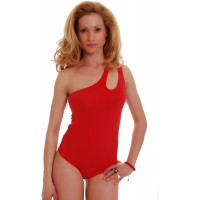 TIARA GALIANO Women Cotton Extravagant Bodysuit One Shoulder Scoop Neck Thong - Made in EU Leotard Jumpsuits Tops 1442 at  Women's Clothing store