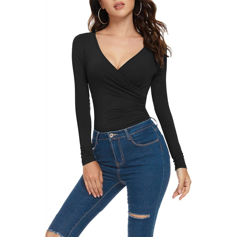 ZABERRY Women's Ruched Wrap Elegant Long Sleeves Cross Front Deep V Neck Bodysuit at Women's Clothing store