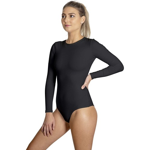 Zikani Long Sleeve Stretchy Bodysuits with Crotch Snaps T Shirts for Women Round Crew Neck Cotton Leotard Jumpsuit