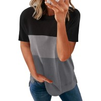 Acelitt Women Ladies Summer Round Neck Short Sleeve Casual Loose 2021 Comfy Soft Color Block T-Shirts Blouses Tops Tunic Tees for Women Black XL at  Women's Clothing store