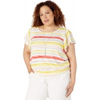AGB Women's Plus Size Side Tie T-Shirt at  Women's Clothing store