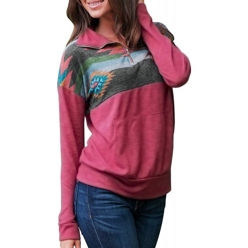 Aleumdr Women Casual Long Sleeve 1 4 Zipper Color Block Sweatshirts Stand Collar Pullover Tunic Tops with Pockets S-XXL at  Women's Clothing store