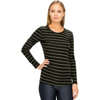 ALWAYS Women's Crew V-Neck Long Sleeve Top Tee - Solid Basic Striped Print Premium Soft Stretch T-Shirt at  Women's Clothing store