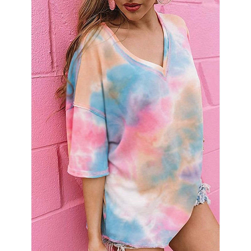 CCBSTS Womens Summer V Neck Tie Dye T Shirts Plus Size Short Sleeve Loose Knit Tops Casual Flowy Tunic Tees at Women's Clothing store