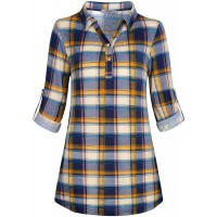 Cestyle Women's Collared Roll-Up 3 4 Sleeve Casual Loose Lightweight Knit Polo Plaid Shirt at  Women's Clothing store