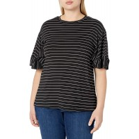 City Chic Women's Apparel Women's Plus Size Striped Tshirt with Ruffled Trim Sleeves at  Women's Clothing store