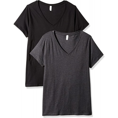 Clementine Apparel 2 Pack Women's Plus Size Curvy Short Sleeve T Shirt Easy Tag V Neck Soft Cotton Undershirts 3807 at  Women's Clothing store