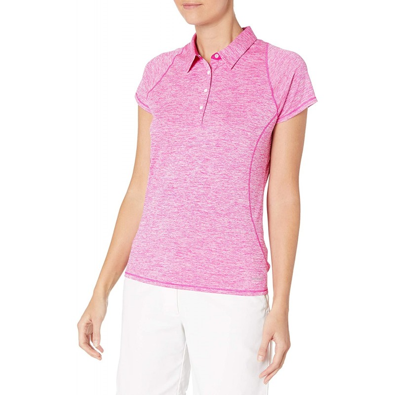 Cutter & Buck Women's Short Sleeve Frequency 4 Button Heathered Polo at Women's Clothing store