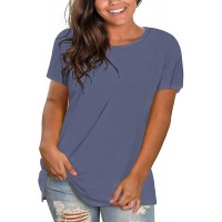 DEFJOOY L-4XL Womens Plus Size Casual Basics V Neck Tunic Tops Loose Fit T Shirts with Pocket