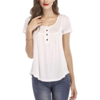 EVERICH Women's Summer Casual Loose Tops Henley V Neck Tunic Blouse Short Sleeve Button Up Shirts at  Women's Clothing store