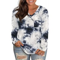 FERYSHE Womens Plus-Size Tops Casual Long Sleeve V-Neck T Shirts at  Women's Clothing store