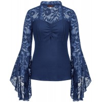 Hanna Nikole Women's Floral Lace Flowy Bell Sleeve Casual T Shirts Blouses Tops at  Women's Clothing store