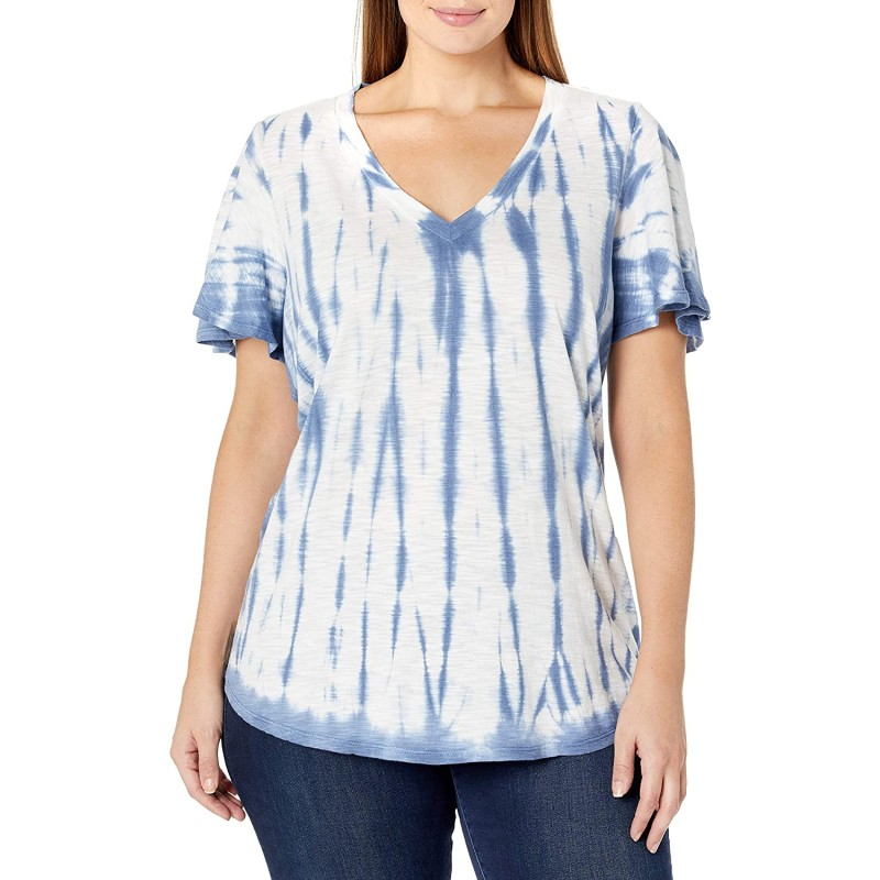 Jessica Simpson Women's Plus Size Carly Flutter Sleeve Tee Shirt at Women's Clothing store