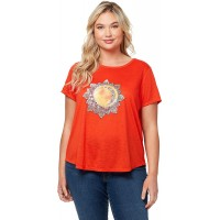 Jessica Simpson Women's Plus Size Luna Short Sleeve Graphic Knit Tee Shirt at  Women's Clothing store