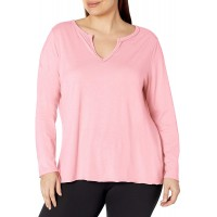 JUST MY SIZE Women's Plus Size Split Neck Long Sleeve Tee at  Women's Clothing store