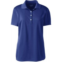Lands' End Women's Short Sleeve Solid Active Polo at  Women's Clothing store
