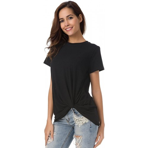 LUSMAY Womens Cotton T-Shirts Casual Short Sleeve Loose Fitting Basic Tee Solid at Women's Clothing store