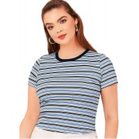 Milumia Women's Plus Size Ribbed Tee Striped Short Sleeve Casual T Shirt Tops at  Women's Clothing store