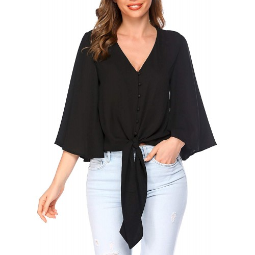 Misakia Women's T-Shirts Long Sleeve V-Neck Blouses Loose Casual Tops with Front Pocket at  Women's Clothing store