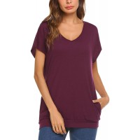 Mofavor Women's V Neck Short Sleeve Casual Loose Top T-Shirts with Pockets