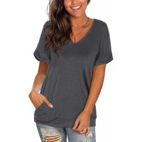 Moyabo Women's Casual V Neck Short Sleeve Shirts Loose Casual Tee T-Shirt with Pocket
