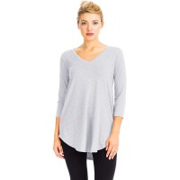 NANAVA Women's Relaxed Fit 3 4 Sleeve V-Neck Bottom Round Hem Perfect Top Tee at  Women's Clothing store