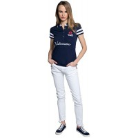 Navy Classic Fitted Polo Shirt for Women 95% Cotton - Valecuatro