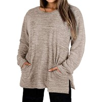 Plus-Size Tops for Women Long Sleeve T Shirt Crew Neck Sweatshirt Tunic Blouse with Pockets at  Women's Clothing store
