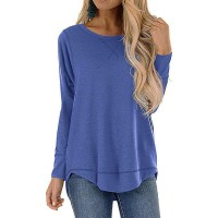 Ranee Tops for Women Long Sleeve Side Split Casual Loose Tunic Crew Neck Workout Fall Top T-Shirts Blouses S-XXL