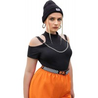 Romwe Women's Plus Cold Shoulder Mock Neck Short Sleeve T Shirt Crop Top with Chain at  Women's Clothing store