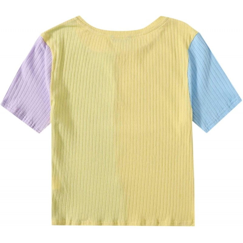 Romwe Women's Plus Size Colorblock Short Sleeve Ribbed Knit T Shirt Tee Tops at Women's Clothing store