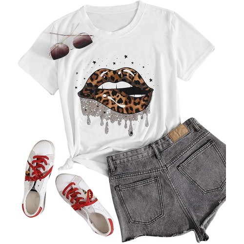 Romwe Women's Plus Size Lips Leopard Print T Shirt Short Sleeve Basic Graphic Tee Tops at  Women's Clothing store