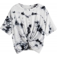 Romwe Women's Plus Size Tie Dye Shirts Short Sleeve Twist Front Round Neck Tee Tops at  Women's Clothing store