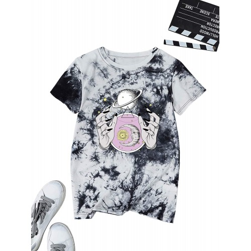 Romwe Women's Plus Size Tie Dye T Shirt Short Sleeve Round Neck Graphic Tee Tops at  Women's Clothing store