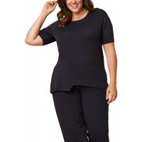 Seek No Further by Fruit of the Loom Women's Plus Size Scooped Neck Ruched Top at  Women's Clothing store