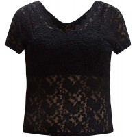 SheIn Women's Plus Floral Lace Short Sleeve Tee Tops V Neck Scallop T Shirt with Camisole at  Women's Clothing store
