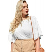SheIn Women's Plus Size Ruffle Half Sleeve Eyelet T Shirt Round Neck Solid Tee Top at  Women's Clothing store