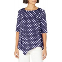 Star Vixen Women's Petite Size Short Sleeve Stretch Ity Knit Top with Keyhole Cutout Back and Shirttail Hem