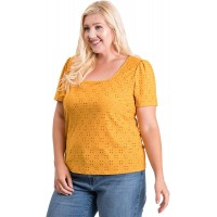 STORY TELLER Women's Short Sleeve Square Scoop Neck Eyelet Knit Top at  Women's Clothing store