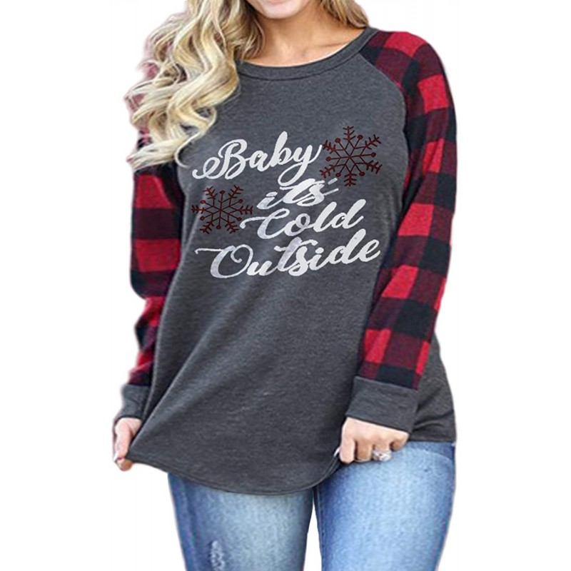 VISLILY Plus-Size-Christmas Shirts for Women Holiday Long Sleeve Tops Raglan Plaid Tee at Women's Clothing store