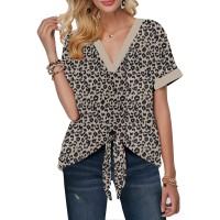 Women's Casual Cute Shirts Leopard Print Tops Basic Short Sleeve Soft Blouse at  Women's Clothing store