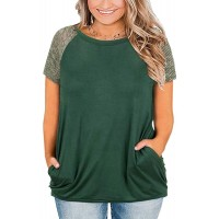 Womens Short Sleeve T Shirts Plus Size Patchwork Summer Tops Blouses with Pockets at  Women's Clothing store