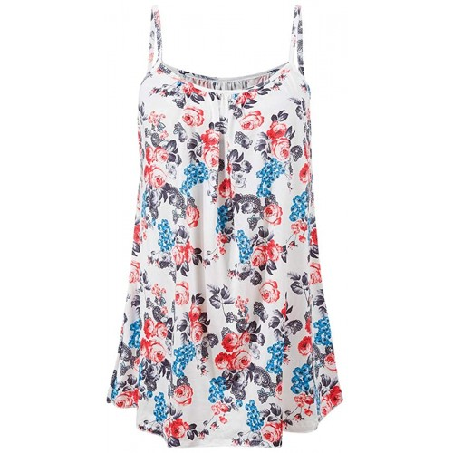 LXYD Women's Flowy Round Neck Spaghetti Strap Tank Tops Camisole Shirts at Women's Clothing store