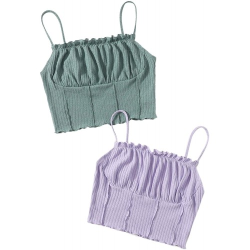 Milumia Women's 2 Packs Spaghetti Strap Ribbed Knit Backless Ruched Cami Crop Top at  Women's Clothing store