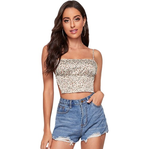 SOLY HUX Women's Spaghetti Strap Floral Print Backless Crop Cami Top at Women's Clothing store