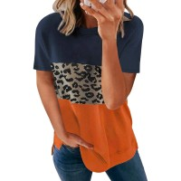 Acelitt Women Ladies Summer Crewneck Short Sleeve Casual Loose 2021 Comfy Soft Color Block Leopard Print T-Shirts Blouses Tops Tunic Tees for Women Blue XL at  Women's Clothing store