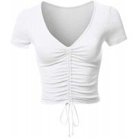 Aianger Women's V Neck Ruched Drawstring Crop Top Short Sleeve Basic Tee Shirt at  Women's Clothing store
