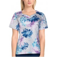 Alfred Dunner Women's Classics Short Sleeve Watercolor Floral Top