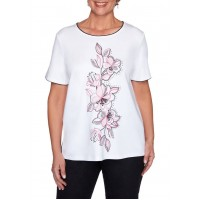 Alfred Dunner Women's Clean Getaway Center Embroidered Floral Top